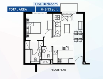 Planning of the apartment 1BR, 649.93 in Azizi Aura Residence, Dubai