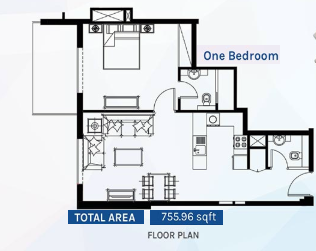 Planning of the apartment 1BR, 755.96 in Azizi Aura Residence, Dubai