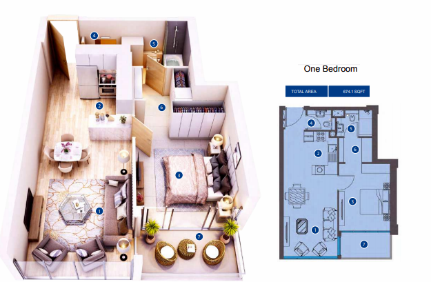 Planning of the apartment 1BR, 674.1 in Azizi Greenfield, Dubai
