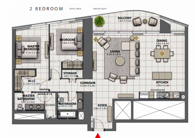 Planning of the apartment 2BR, 1603.93 in Grande at Opera District, Dubai