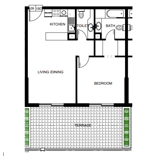 Planning of the apartment 1BR, 865 in Azizi Plaza Apartments, Dubai