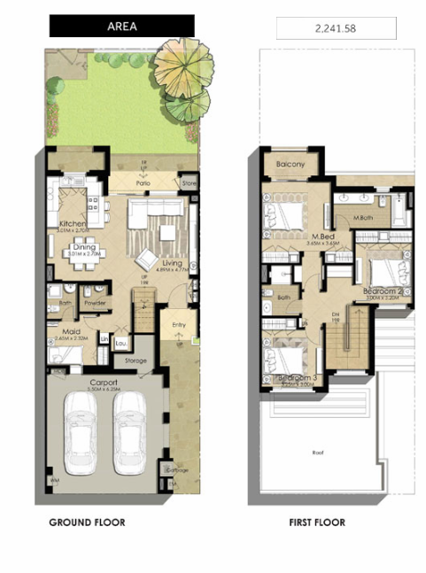 Planning of the apartment Villas 3BR, 2241.58 in Naseem Townhouses, Dubai