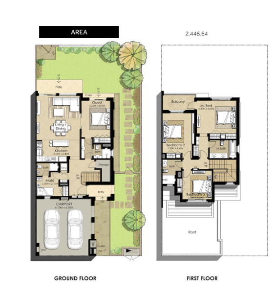 Planning of the apartment Villas 4BR, 2446.64 in Naseem Townhouses, Dubai
