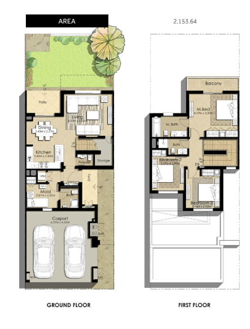Planning of the apartment Villas 3BR, 2153.64 in Naseem Townhouses, Dubai