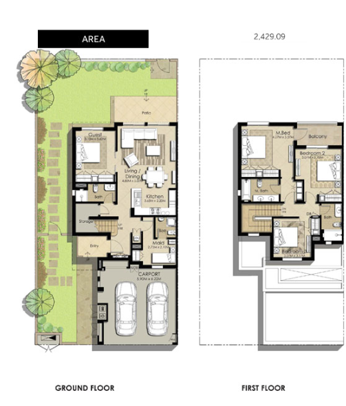 Planning of the apartment Villas 4BR, 2429.09 in Naseem Townhouses, Dubai
