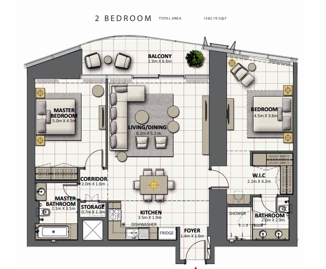 Planning of the apartment 2BR, 1482.19 in Grande at Opera District, Dubai