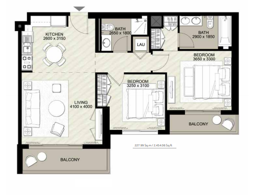 Planning of the apartment 2BR, 2454.06 in Rawda Apartments, Dubai