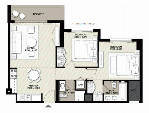 Planning of the apartment 2BR, 1518.46 in Rawda Apartments, Dubai