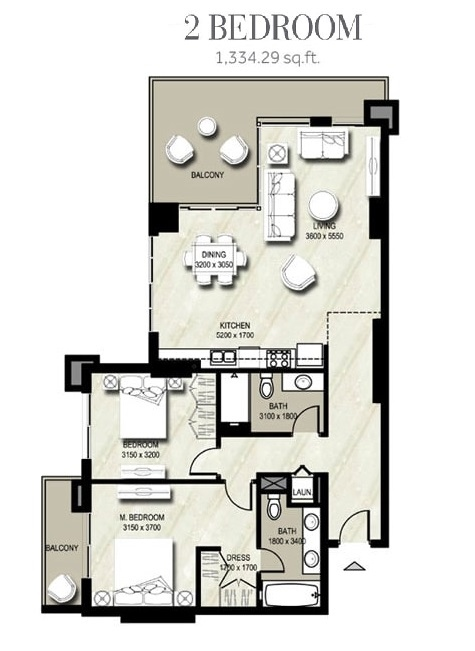 Planning of the apartment 2BR, 1334.29 in Warda, Dubai