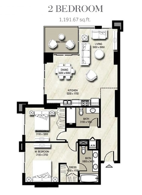 Planning of the apartment 2BR, 1191.67 in Warda, Dubai