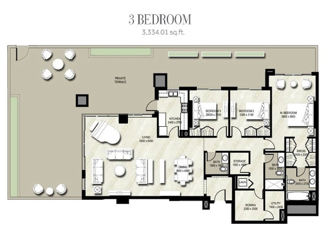 Planning of the apartment 1BR, 3334.01 in Warda, Dubai