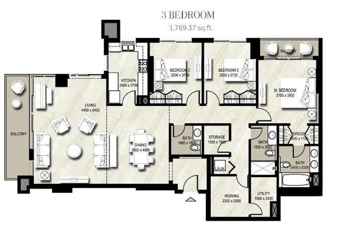 Planning of the apartment 2BR, 1769.37 in Warda, Dubai