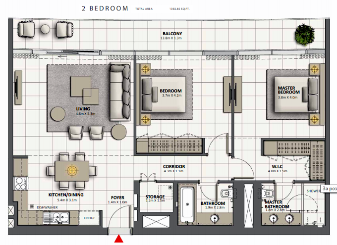 Planning of the apartment 2BR, 1392.85 in Grande at Opera District, Dubai