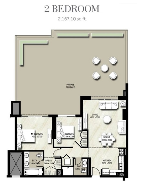 Planning of the apartment 2BR, 2167.1 in Warda, Dubai