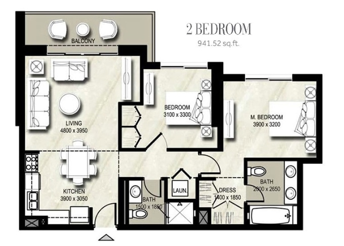 Planning of the apartment 2BR, 941.52 in Warda, Dubai