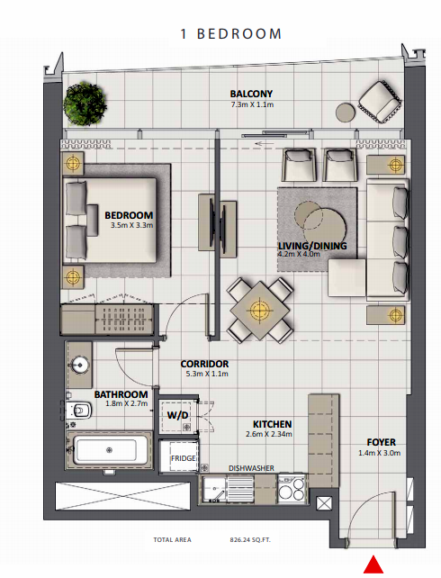 Planning of the apartment 1BR, 826.24 in Grande at Opera District, Dubai