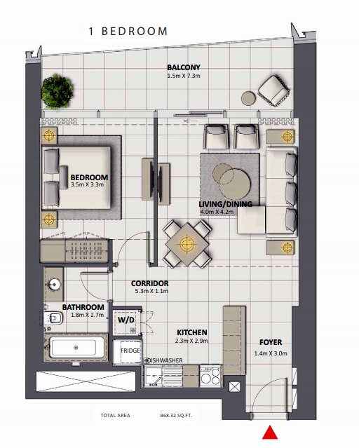 Planning of the apartment 1BR, 868.32 in Grande at Opera District, Dubai