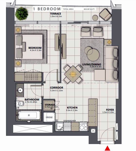 Planning of the apartment 1BR, 803.09 in Grande at Opera District, Dubai