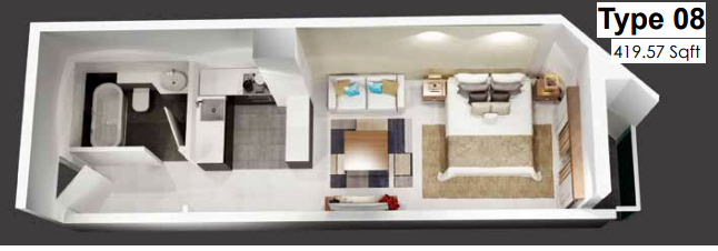 Planning of the apartment Studios, 419.57 in Plazzo Residence Apartments, Dubai
