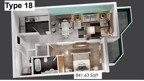 Planning of the apartment 1BR, 841.63 in Plazzo Residence Apartments, Dubai