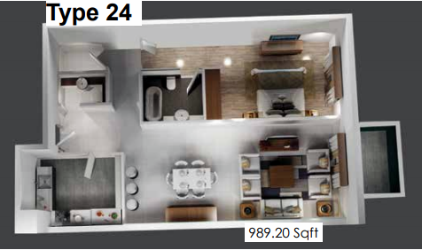 Planning of the apartment 1BR, 989.2 in Plazzo Residence Apartments, Dubai