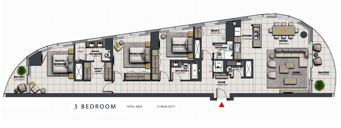 Planning of the apartment Penthouses, 2148.69 in Grande at Opera District, Dubai