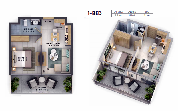 Planning of the apartment 1BR, 474 in Reva Residences, Dubai