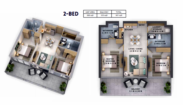 Planning of the apartment 2BR, 901 in Reva Residences, Dubai