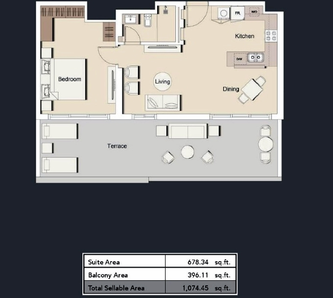Planning of the apartment 1BR, 1074.45 in Belgravia III Apartments, Dubai