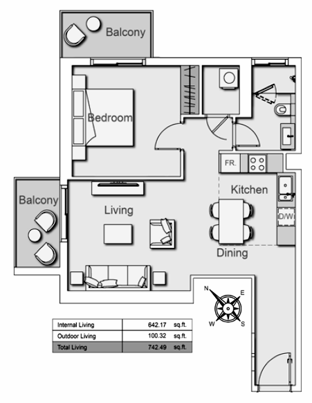 Planning of the apartment 1BR, 742.49 in Belgravia Heights II, Dubai