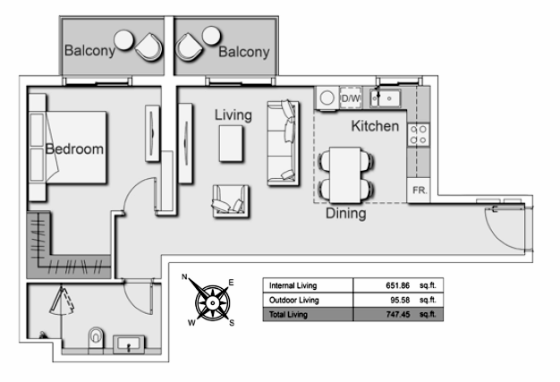 Planning of the apartment 1BR, 747.45 in Belgravia Heights II, Dubai