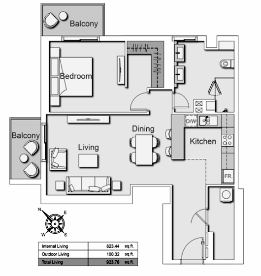 Planning of the apartment 1BR, 923.76 in Belgravia Heights II, Dubai