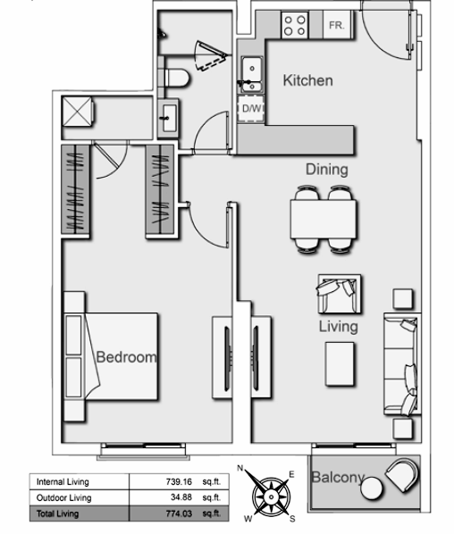 Planning of the apartment 1BR, 774.03 in Belgravia Heights II, Dubai
