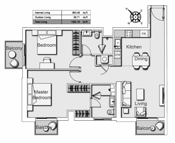 Planning of the apartment 2BR, 1062.18 in Belgravia Heights II, Dubai
