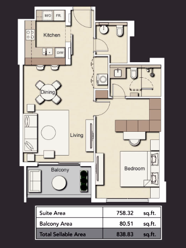 Planning of the apartment 1BR, 838.83 in Wilton Terraces 1 & 2, Dubai