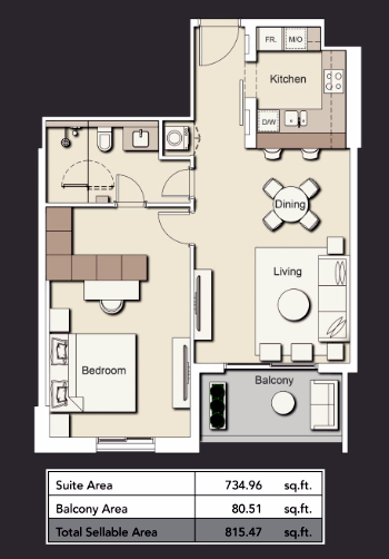 Planning of the apartment 1BR, 815.47 in Wilton Terraces 1 & 2, Dubai