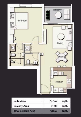 Planning of the apartment 1BR, 788.67 in Wilton Terraces 1 & 2, Dubai