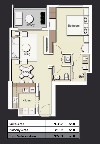 Planning of the apartment 1BR, 785.01 in Wilton Terraces 1 & 2, Dubai