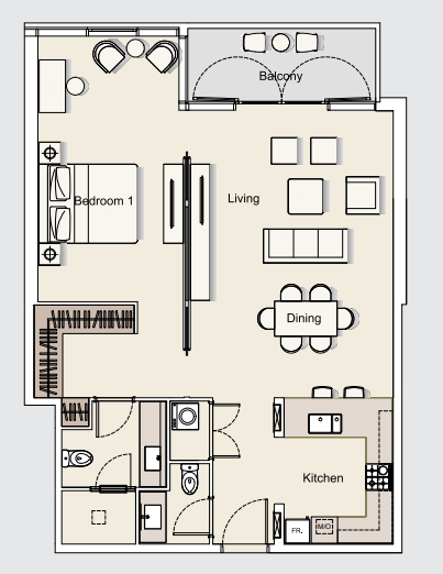 Planning of the apartment 1BR, 994.04 in DT1 Luxury Apartments, Dubai