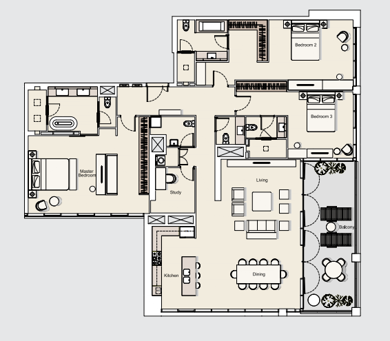 Planning of the apartment 3BR, 2530.38 in DT1 Luxury Apartments, Dubai