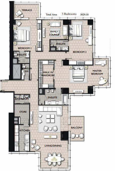 Planning of the apartment 3BR, 3029.18 in The Residences JLT, Dubai