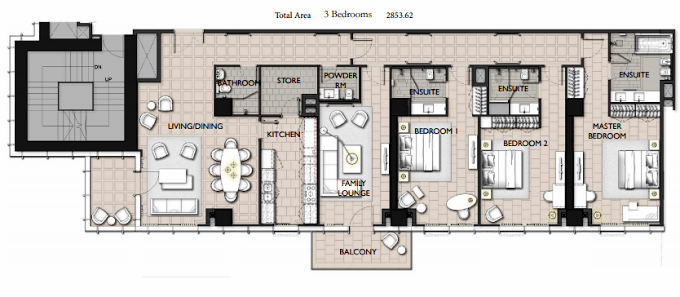 Planning of the apartment 3BR, 2853.62 in The Residences JLT, Dubai