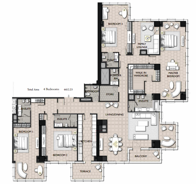 Planning of the apartment 4BR, 4412.23 in The Residences JLT, Dubai