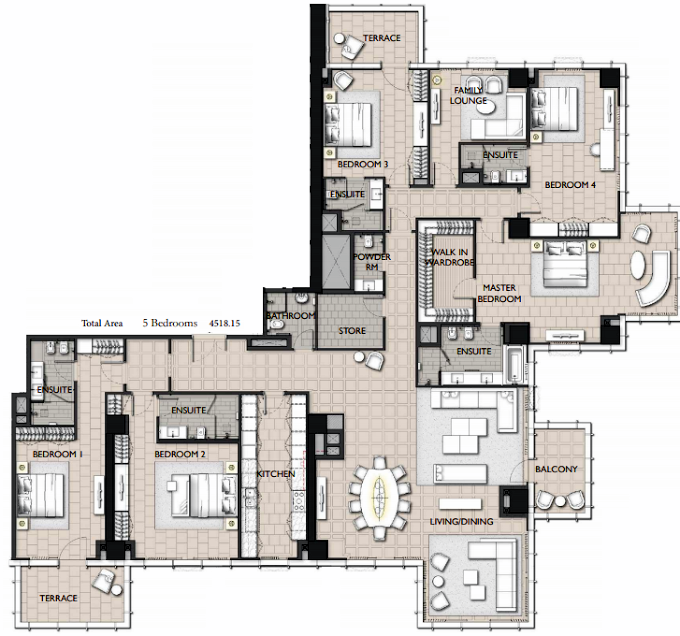 Planning of the apartment 5BR, 4518.15 in The Residences JLT, Dubai