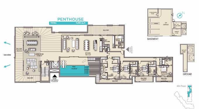 Planning of the apartment Penthouses, 11159 in Nikki Beach Residences, Dubai