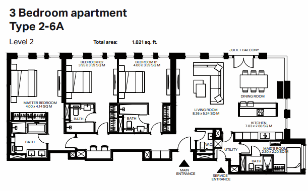 Planning of the apartment 3BR, 1821 in Bluewaters Residences, Dubai