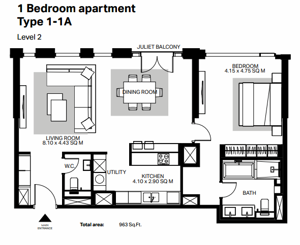 Planning of the apartment 1BR, 963 in Bluewaters Residences, Dubai