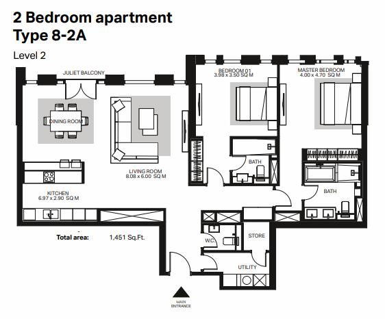 Planning of the apartment 2BR, 1451 in Bluewaters Residences, Dubai