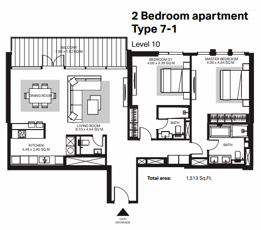 Planning of the apartment 2BR, 1513 in Bluewaters Residences, Dubai