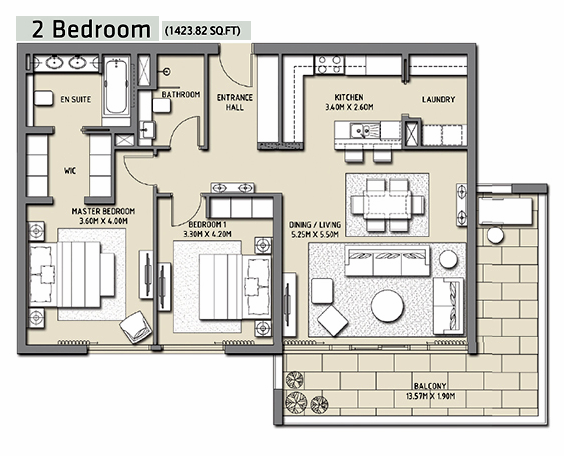 Planning of the apartment 2BR, 1423.82 in The Hills, Dubai